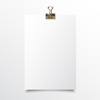 Papel vertical en blanco realista mock up