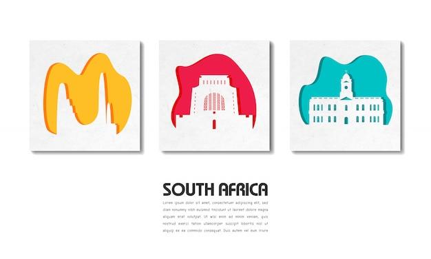 Papel de viaje y viaje global emblemático de sudáfrica con plantilla de texto