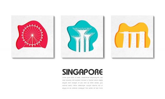 Papel de viaje y viaje global de singapur landmark con plantilla de texto