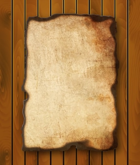 Papel viejo con bordes quemados aislado sobre fondo blanco.