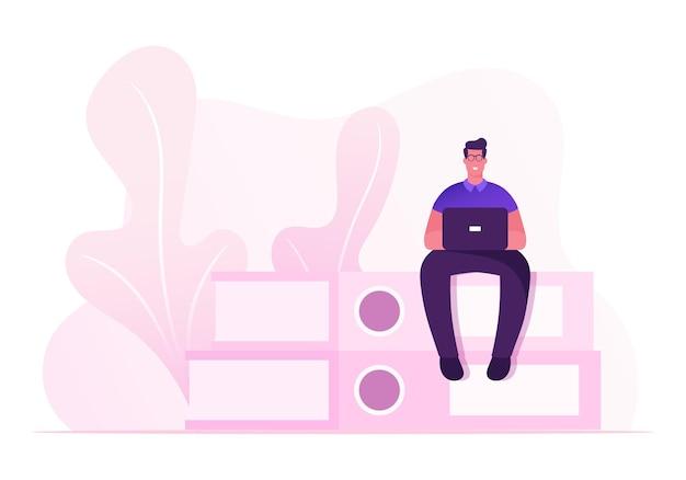 Papeleo y concepto de rutina de oficina. ilustración plana de dibujos animados