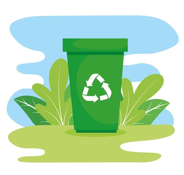 Papelera con flechas de reciclaje en el diseño de campo