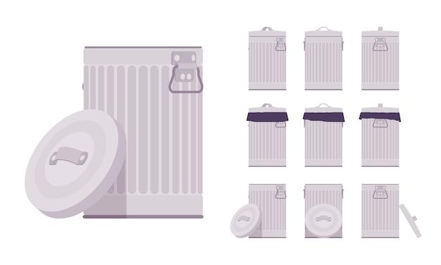 Papelera de hojalata. contenedor de residuos metálicos, basurero funcional. salud y funcionamiento de la ciudad, embellecimiento de calles y concepto urbano. ilustración de dibujos animados de estilo, diferentes posiciones