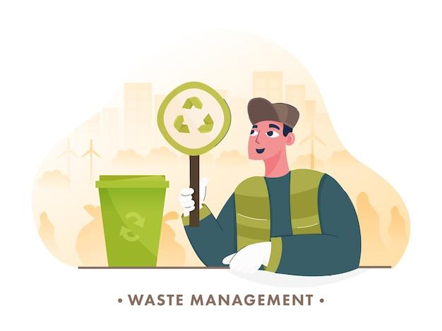 Papelera de reciclaje de investigación de hombre sobre fondo de ciudad verde para el concepto de gestión de residuos.