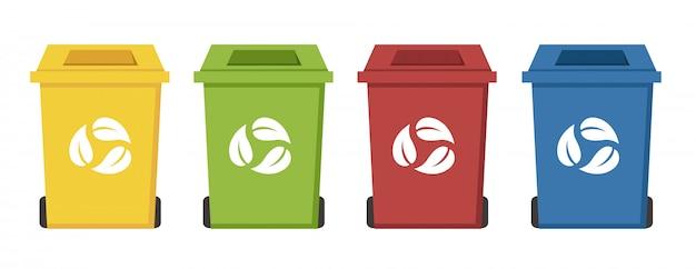 Papeleras de reciclaje de diferentes colores.