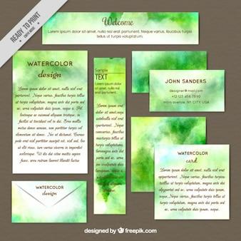 Papelería en acuarela verde