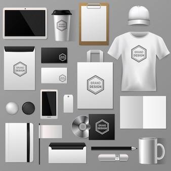Papelería en blanco para el sistema de identidad de la empresa corporativa ilustración de plantilla de publicidad de marca publicitaria