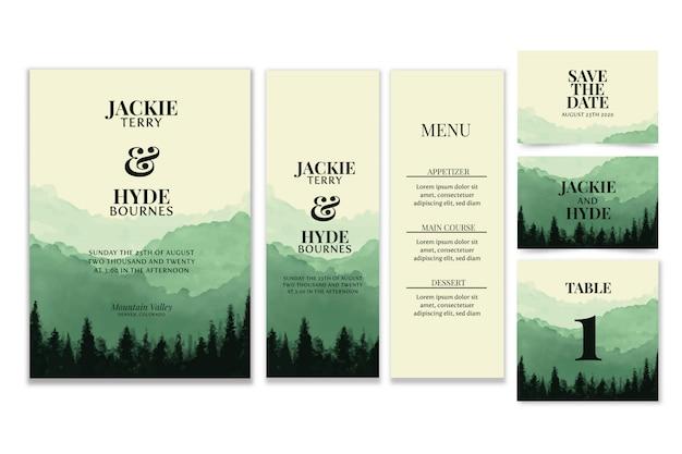 Papelería de boda de acuarela de bosque