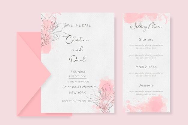 Papelería de boda en acuarela con flores