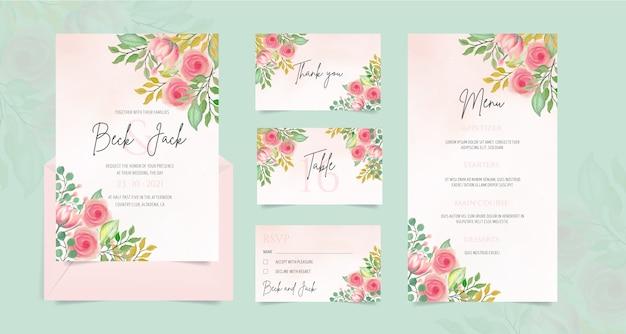 Papelería de boda con adornos florales de acuarela