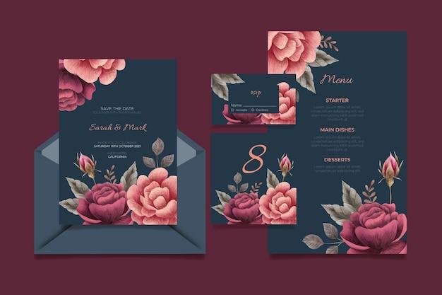 Papelería de boda botánica dramática acuarela