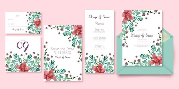 Papelería de boda con diseño floral en tonos rosas.