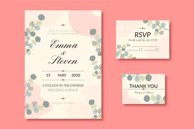 Papelería de boda en diseño plano