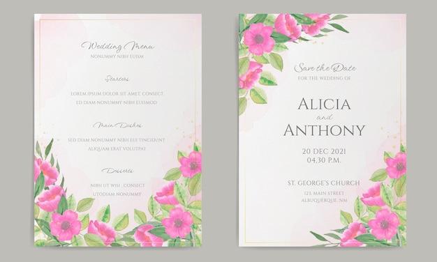 Papelería de boda elegante con decoración de acuarela