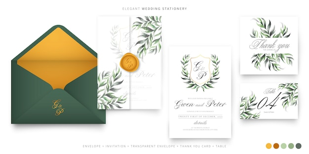 Papelería de boda elegante con emblema de pareja