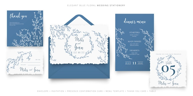 Papelería de boda floral azul elegante