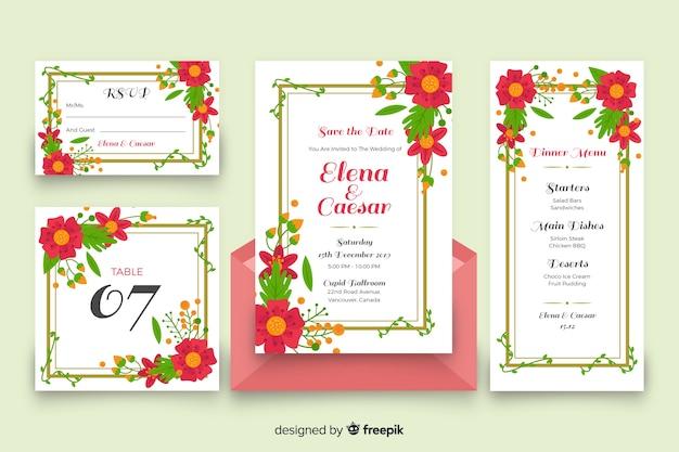 Papelería de boda floral colorida