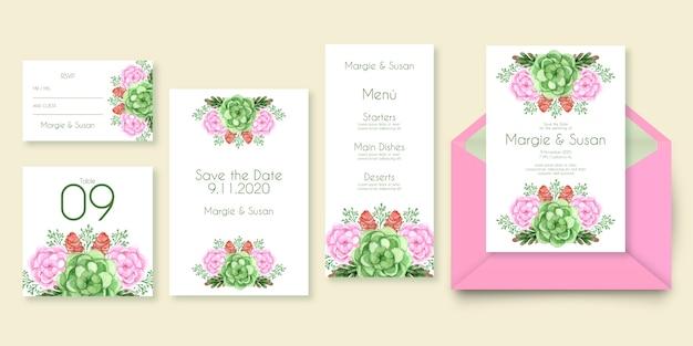 Papelería de boda floral en tonos rosas