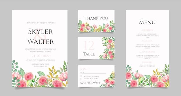 Papelería de boda con flores de acuarela.