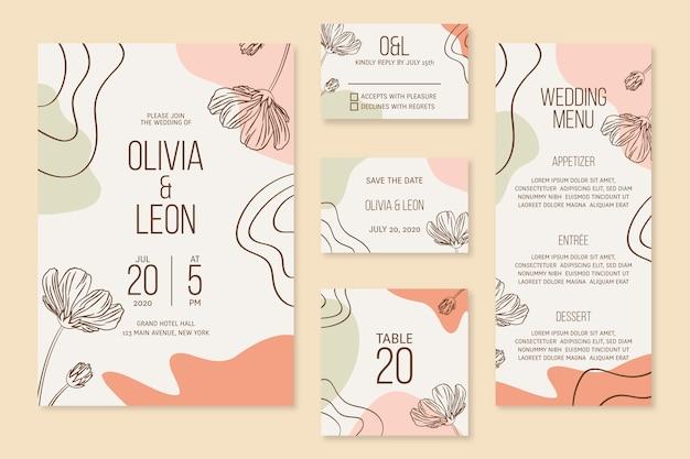 Papelería de boda con flores.