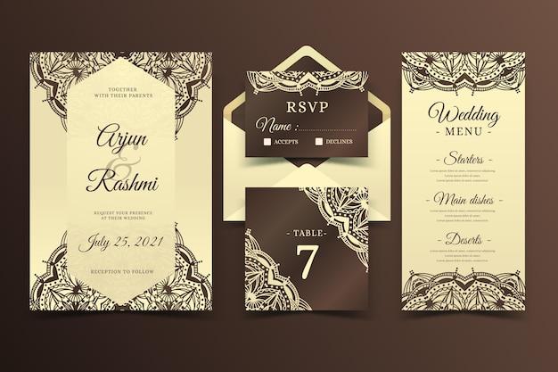 Papelería de boda india elegante