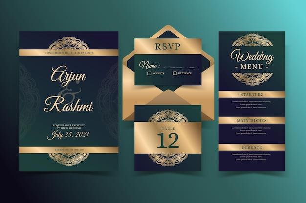 Papelería de boda indio dorado