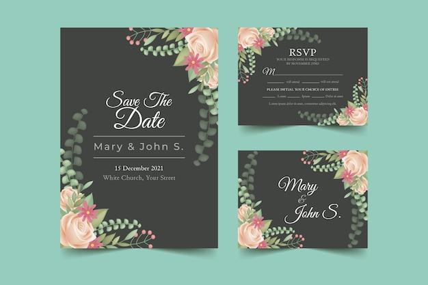 Papelería de boda con invitación floral y tarjetas