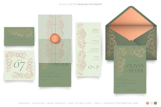 Papelería de boda ornamental en paleta de colores oliva y cobre.