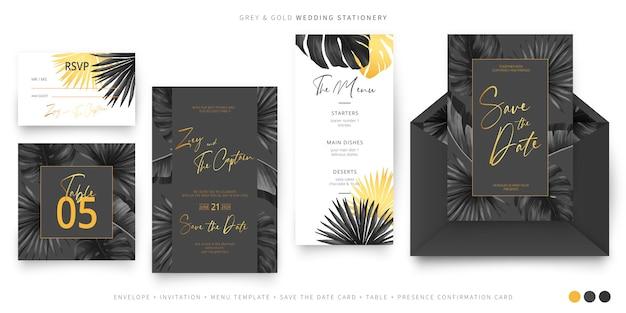 Papelería de boda tropical negra y dorada