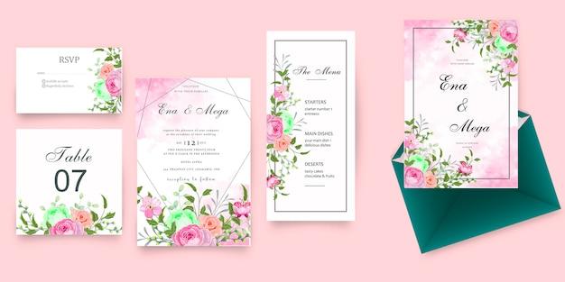 Papelería de boda vintage con hermosas flores y hojas