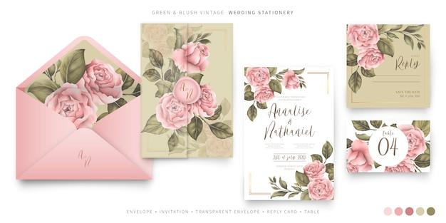 Papelería de boda vintage con peonías rosas