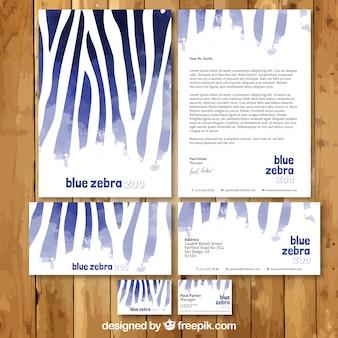 Papelería de cebra de acuarela azul