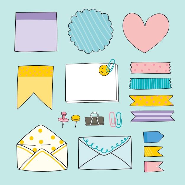 Papelería colorida colección de suministros.