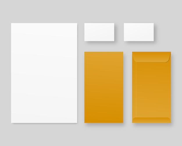 Papelería comercial con papel, tarjetas de visita, sobres. conjunto de plantillas de identidad corporativa. . modelo . ilustración realista