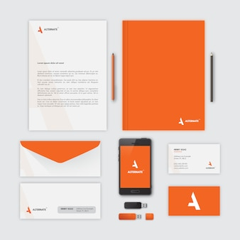 Papelería corporativa, color naranja