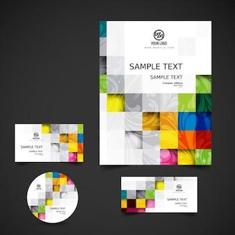 Papelería de negocio con cuadrados de colores