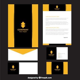 Papelería de empresa de forma abstracta amarilla