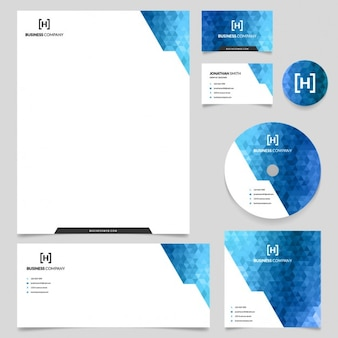 Papelería empresarial azul