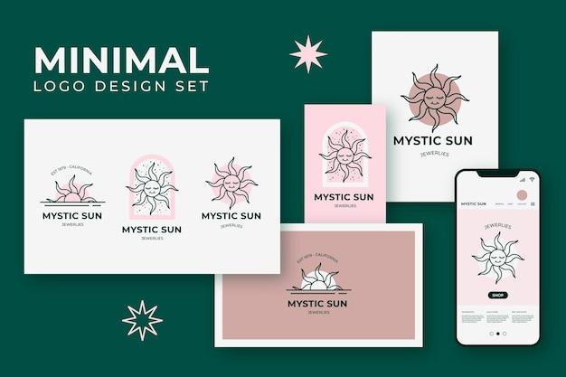 Papelería y logotipo de sol de estilo minimalista y lineal.