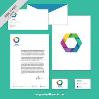 Papelería de negocios de hexágono colorido