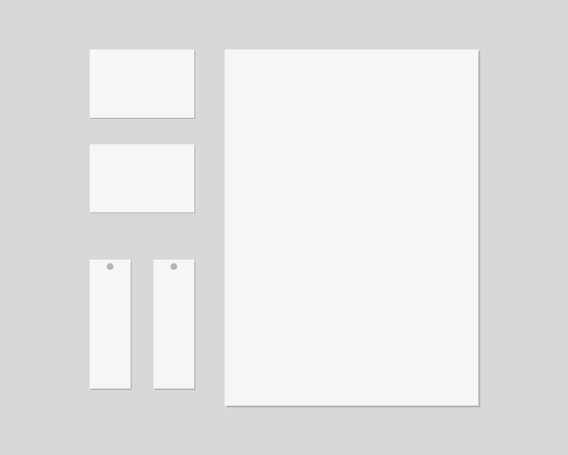 Papelería con papel, tarjetas de visita, etiquetas de precios. escena de papelería de marca. identidad corporativa . . modelo .
