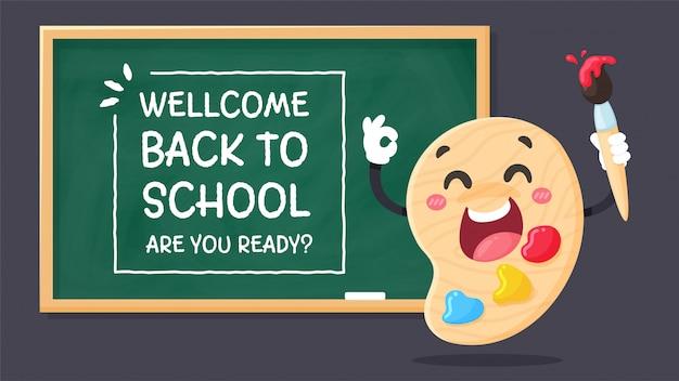 Papelería de personajes de dibujos animados escriba un mensaje welcom back to school. ¿estás listo? con un choque en la pizarra.