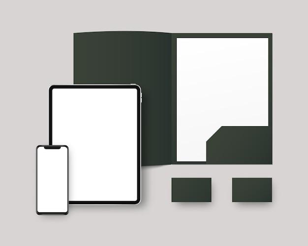 Papelería con teléfono inteligente, tableta, carpeta de papel, tarjeta de visita. diseño de identidad corporativa.
