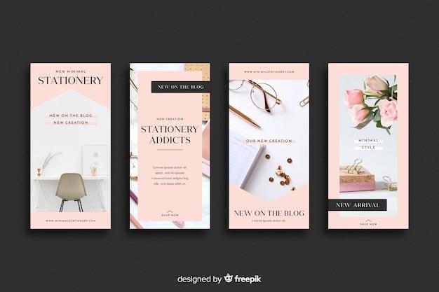 Papelería tienda instagram historias colección