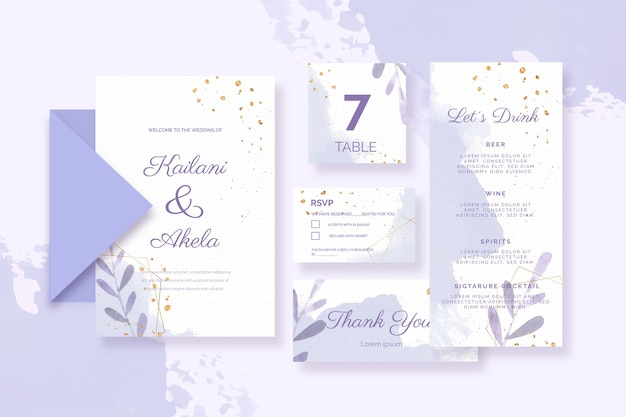 Papelería variada para bodas en tonos azules