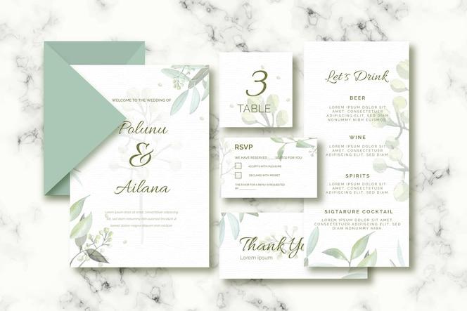 Papelería variada para bodas en tonos verdes