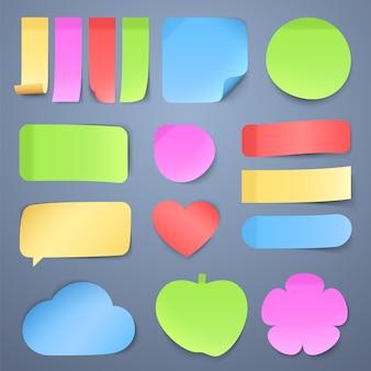 Papeles adhesivos, colección de pegatinas memo.