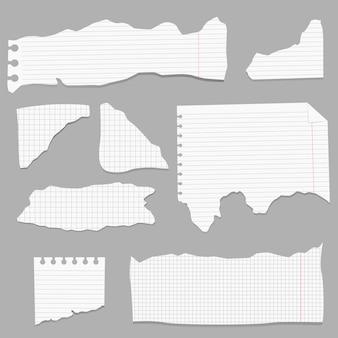 Papeles rotos, trozos de página rotos y trozo de papel de nota de bloc de notas página de textura, hoja de notas con textura o triturador de cuaderno.