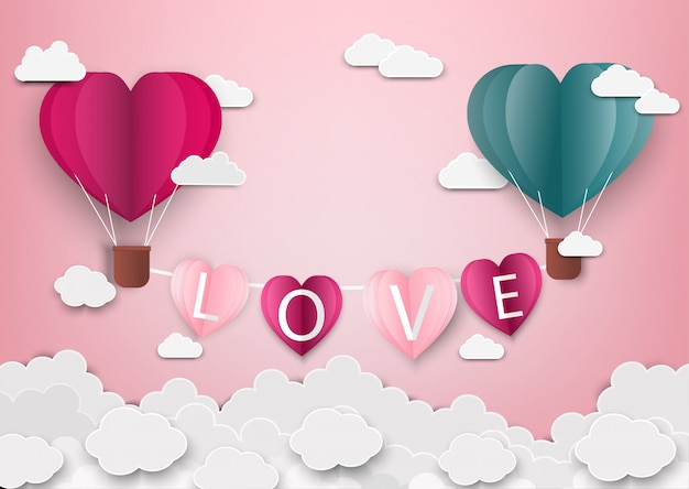 Paper art of love y origami hicieron globos aerostáticos en forma de corazón volando con cartas de amor