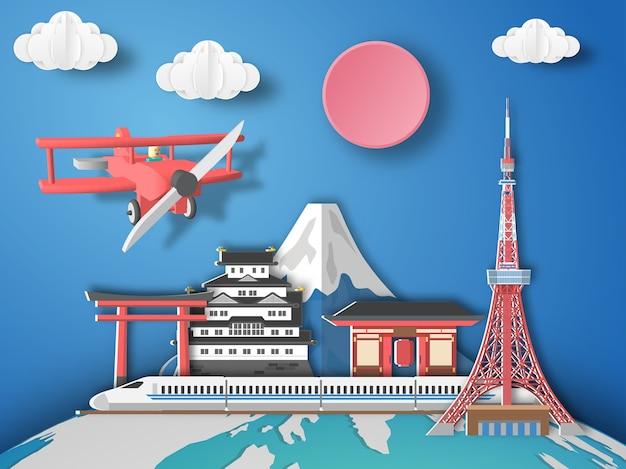 Paper art tokyo airplane volando a japón.
